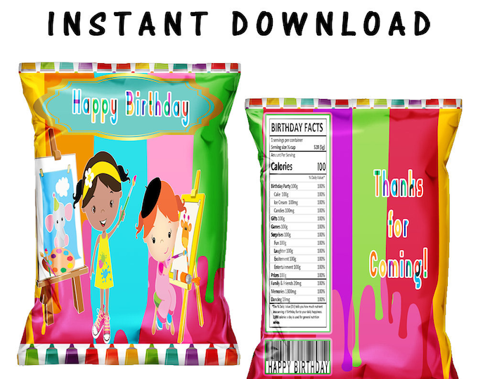 Paint Party Chip Bag - INSTANT DIGITAL DOWNLOAD - File Cannot Be Customized - File Not Editable - Digital - Paint Theme - Paint Party
