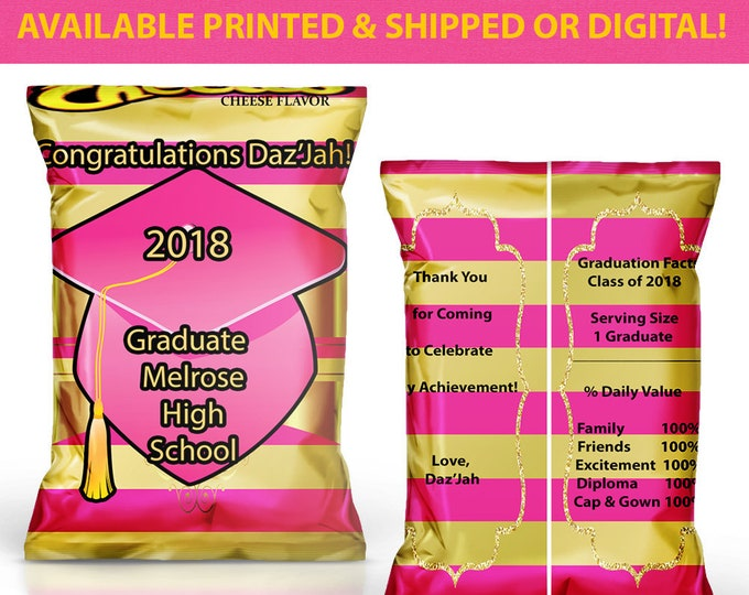 Graduation Chip Bags - Graduation Favor Bags - Custom Chip Bags - Party Favor - Graduation Party - Digital - Printed - Party Printables