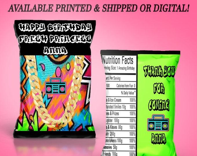 Fresh Princess Chip Bag - Fresh Princess Party - Party Favor - Custom Chip Bag - Party Favor - Digital - Printed - Party Printable