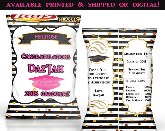 Graduation Chip Bags - Graduation Favor Bags - Graduation Party - Custom Chip Bags - Digital - Printed - Party Printables