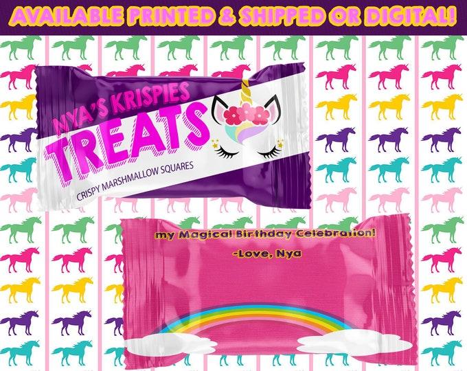 Unicorn Rice Krispy Treat Wrappers - Rice Krispy Treats - Unicorn Favors - Unicorn - Favors - Digital - Printed - Printable