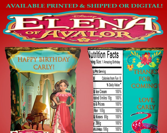 Elena of Avalor Chip Bag - Favor Bag - Elena of Avalor Birthday Party - Party Printables - Digital - Printed - Party Printable