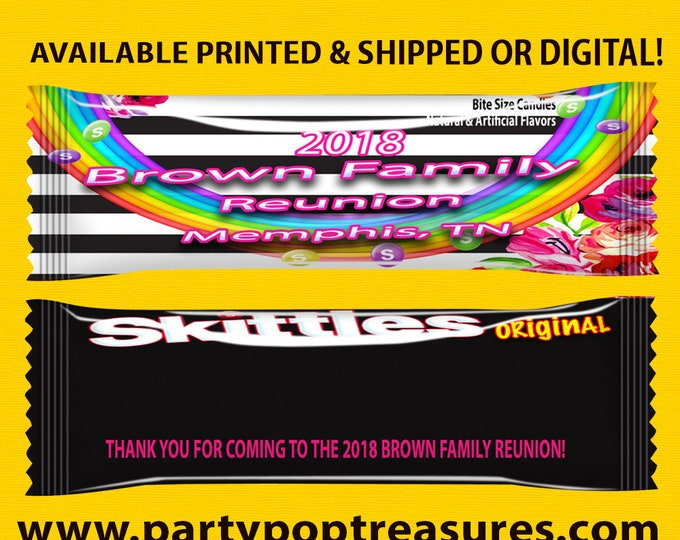 Family Reunion Candy Wrapper - Family Reunion - Candy Favor - Kate Spade Theme - Candy Wrapper - Party Printable - Printed - Digital