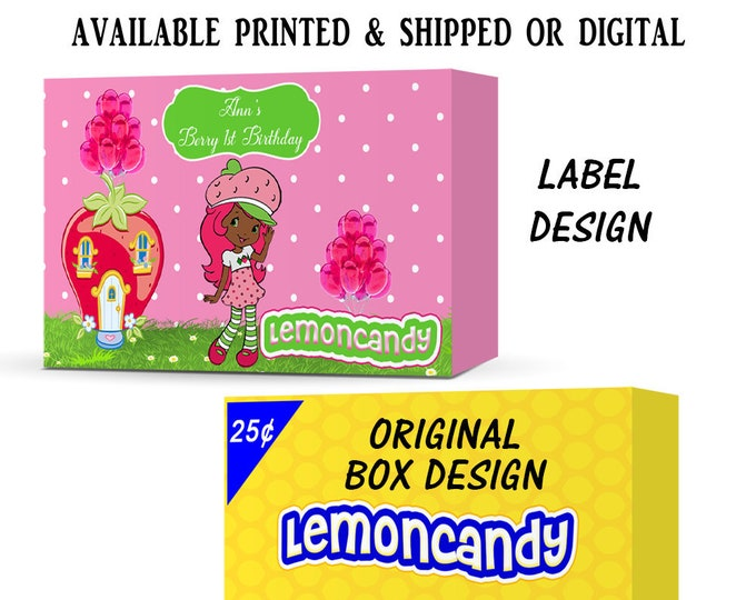 Strawberry Shortcake African American Candy Box Labels - Party Favors - Candy Favors - Strawberry Shortcake - Digital - Party Printables