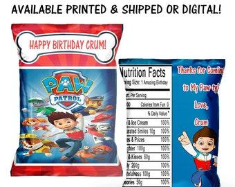 Paw Patrol Chip Bag - Paw Patrol Favor Bag - Paw Patrol Birthday Party - Party Printables - Digital - Printed - Party Printable