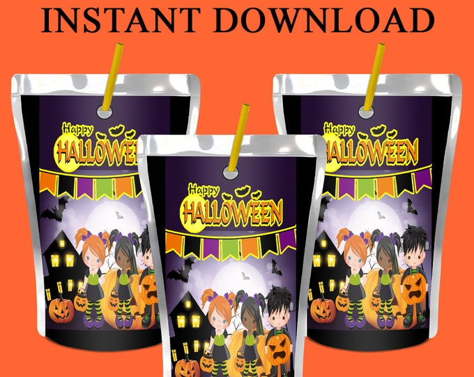 Halloween Juice Pouch Labels - INSTANT DIGITAL DOWNLOAD - Halloween Party - Juice Pouch - File Not Editable - Digital File- Party Printables