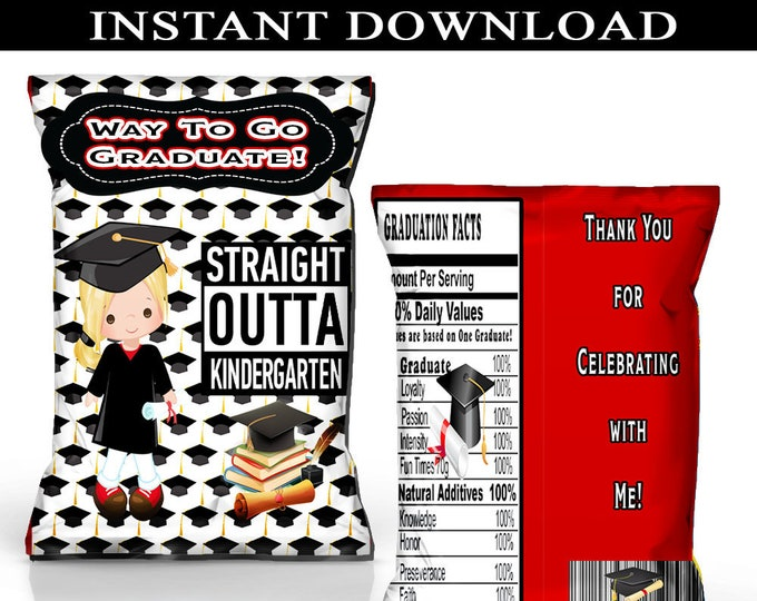 Graduation Chip Bag - INSTANT DIGITAL DOWNLOAD - File Cannot Be Customized - File Not Editable - Kids Graduation Party Favor - Digital File