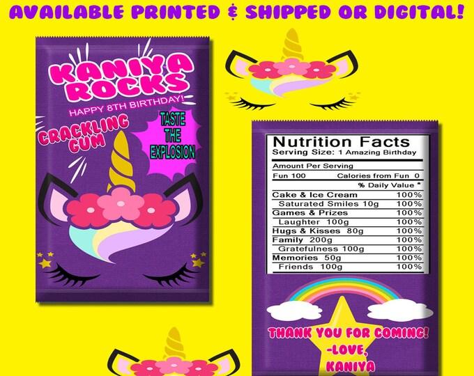 Unicorn Pop Rock Wrapper - Party Favors - Favor Bags - Custom Candy Bags - Pop Rocks - Unicorn Party - Digital - Printed - Party Printable