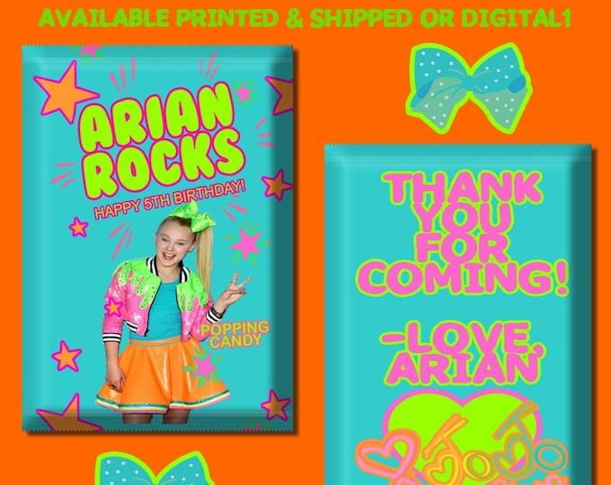 JoJo Pop Rock Wrapper - JoJo Party - Candy Wrappers - Candy Favors - Party Favors - Party Printables - Digital - Printed