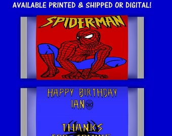 Spiderman Microwave Popcorn Labels - Spiderman Birthday Party - Party Favors - Printables - Digital