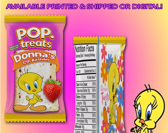 Tweety Bird Pop Tart Wrapper - Tweety Bird Favor Bags - Tweety Bird - Tweety Bird Birthday Party - Digital - Printed - Party Printables