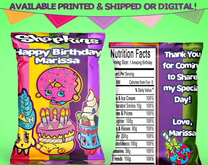 Shopkins Favor Bags - Chip Bags - Shopkins Party - Shopkins Chip Bags - Favors - Digital - Printed - Printable - Party Printable