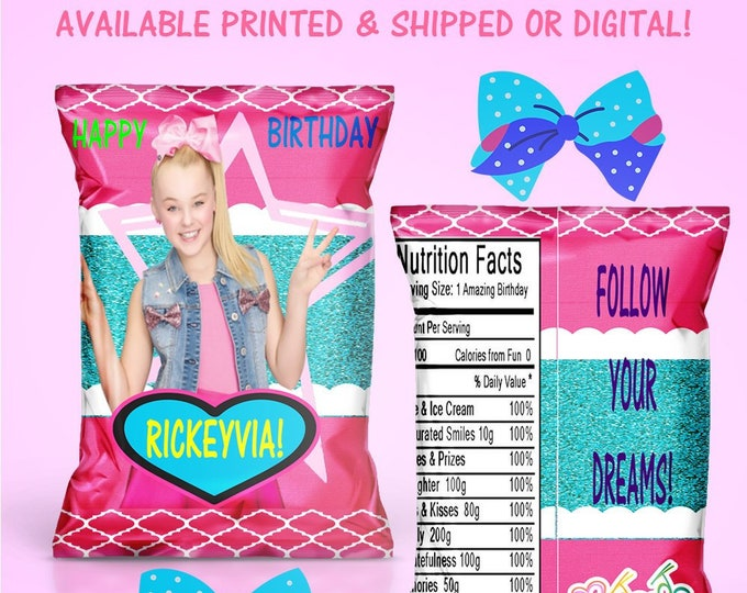JoJo Chip Bag - Custom Party Favors - Party Favors - JoJo Party - Party Printables - Digital - Printed