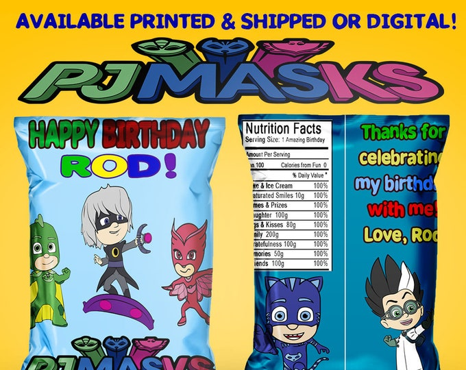 PJ Masks - Favor Bags - PJ Masks Party - Custom Chip Bags - Birthday - Party - PJ Masks Party - Chip Bags - Digital - Printable - Printed