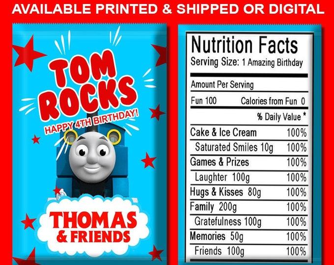 Thomas the Train - Pop Rock Wrapper - Party Favor for Kids - Custom Favor Bags - Party Favors -  Party Printables - Digital - Printed