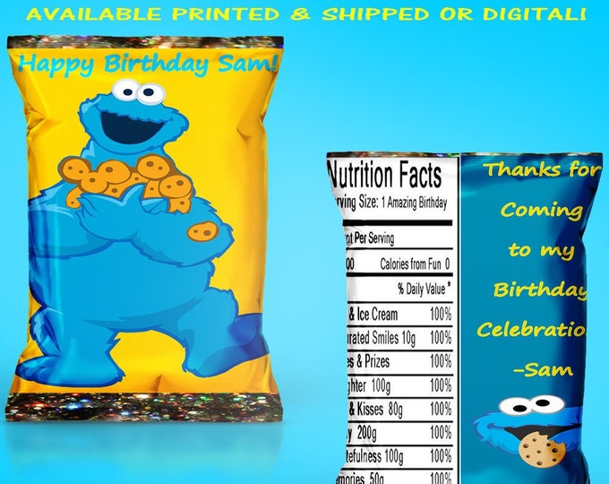 Cookie Monster Favor Bag - Cookie Monster Chip Bag - Cookie Monster - Chip Bag - Favor Bag - Cookie Monster Party - Digital - Printed