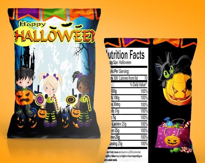 Halloween Chip Bag - INSTANT DIGITAL DOWNLOAD - File Not Editable - Halloween Favor Bag - Halloween Party - Digital - Party Printables