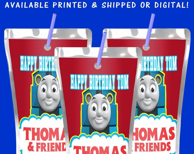 Thomas the Train Juice Pouch Label - Thomas the Train -  Juice Pouch Label - Juice Pouch Sticker - Label - Sticker - Digital - Printed
