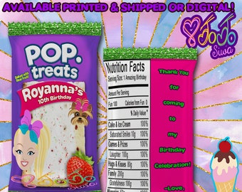JoJo Siwa Pop Tart Wrapper - JoJo Siwa Favor Bags - JoJo Siwa Party Printables - Chip Bags - Digital - Printed- Party Printable