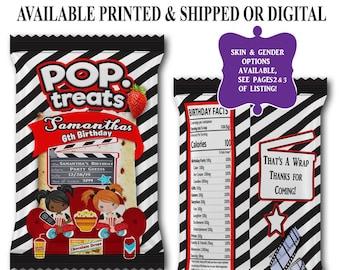 Movie Night Pop Tart Wrapper - Pop Tart Favor Bag - Movie Theme Birthday Party - Party Printables - Digital - Printed - Printable