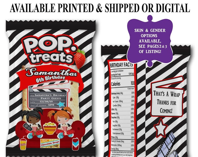 Movie Night Pop Tart Wrapper - Pop Tart Favor Bag - Movie Theme Birthday Party - Party Printables - Digital - Printed - Printable