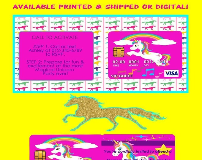 Unicorn Credit Card Invitation - Unicorn - Invitations - Invite - Party Printables - Printable - Printables - Digital - Printed
