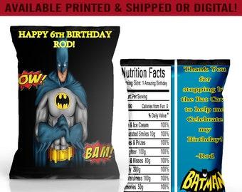 Batman Chip Bags - Batman Party Favors - Batman Birthday Party - Digital - Party Printables - Printed