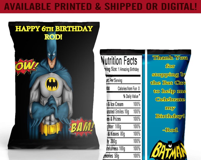Batman Chip Bags - Batman Party Favors - Batman Birthday Party - Digital - Party Printables - Printed