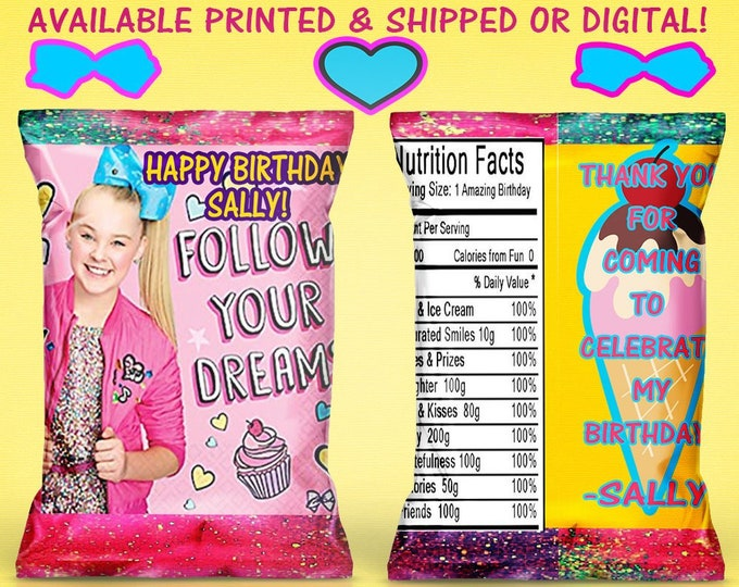 JoJo Chip Bags - JoJo - JoJo - Favor Bags - Party Printables - Custom Chip Bags - Personalized - Digital - Printed - Printable