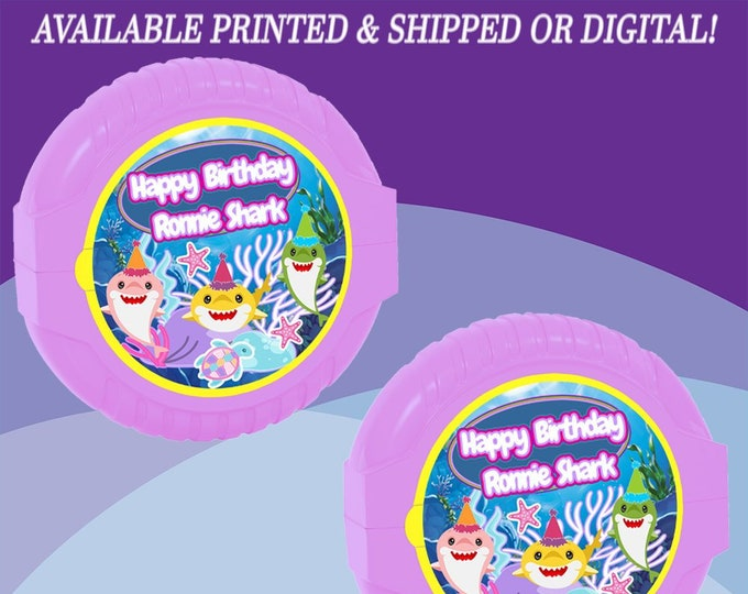 Shark Bubble Gum Tape Label - Shark Labels - Shark Birthday Party - Baby Shark Party Favor - Digital - Printed - Party Printable