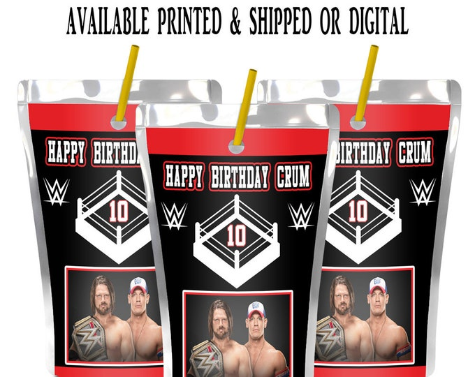Wrestling Capri Sun Labels - Capri Sun Labels - Juice Pouch Labels - Juice Pouch Stickers - Labels - Party - Stickers - Digital - Printed