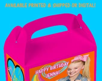 JoJo Favor Box - JoJo Birthday Party Gable Box - Custom Party Favors - Gable Box Favors - Digital File - Party Printable