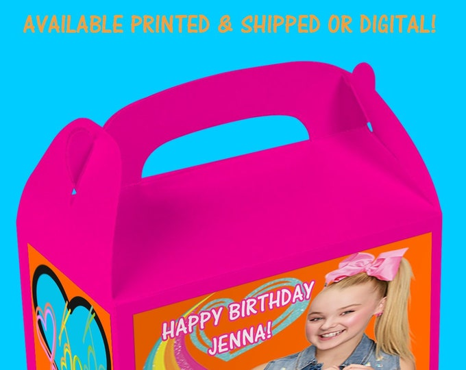 JoJo Gable Box, JoJo Birthday Party, Custom Party Favors, Digital, Printed, Party Printable