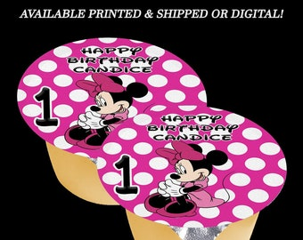 Minnie Mouse Applesauce Jello Labels (3 inches) - Pink White Dots - Minnie Mouse Labels - Minnie Mouse Party - Labels - Stickers - Digital