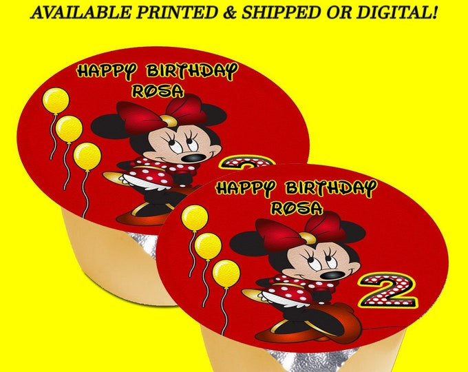 Minnie Mouse Applesauce Jello Labels (3 inches) - Red Yellow - Minnie Mouse Labels - Minnie Mouse Party - Custom Labels - Stickers - Digital