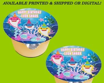 Shark Applesauce Jello Labels (3-inch) - Shark Labels - Shark Birthday - Baby Shark Party Favors - Labels - Digital - Party Printable