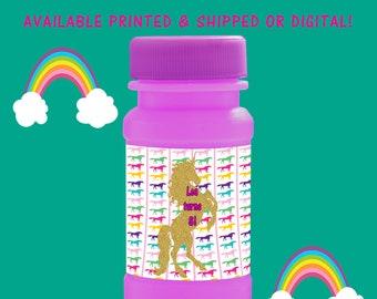 Unicorn Bubble Labels - Unicorn Birthday - Birthday Party - Unicorn Party - Bubbles - Unicorn - Digital - Printable - Printed