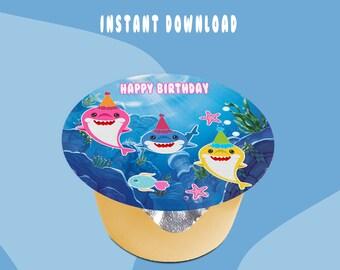 Shark Applesauce Jello Labels (3-inch size Label) - INSTANT DIGITAL DOWNLOAD - File Not Editable - Baby Shark Party Labels - Digital