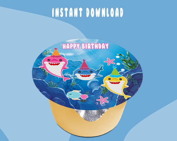 Shark Applesauce Jello Cup Label (3-inch size Label) - INSTANT DIGITAL DOWNLOAD - File Not Editable - Baby Shark Party Favors - Digital