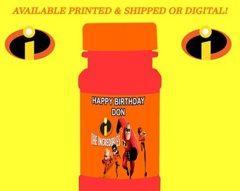 The Incredibles Bubble Labels - Incredibles Party - Bubble Labels - Digital File - Party Printables - Printed