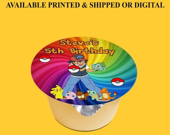 Pokemon Applesauce Labels (3 inches) - Applesauce Label - Jello Labels - Custom Labels- Digital - Party Printables - Printed