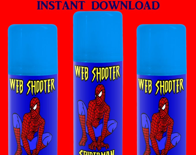 Spiderman Silly String Label - INSTANT DIGITAL DOWNLOAD - Web Shooter Label - File Cannot Be Customized - Silly String Label - Printable