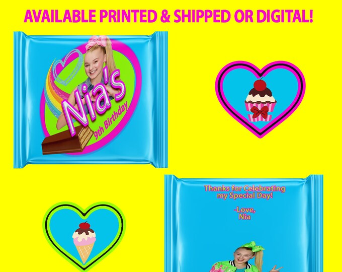 JoJo Candy Wrapper, Party Favors, Candy Bars, JoJo, Custom Party Favors, Digital, Party Printables, Printed