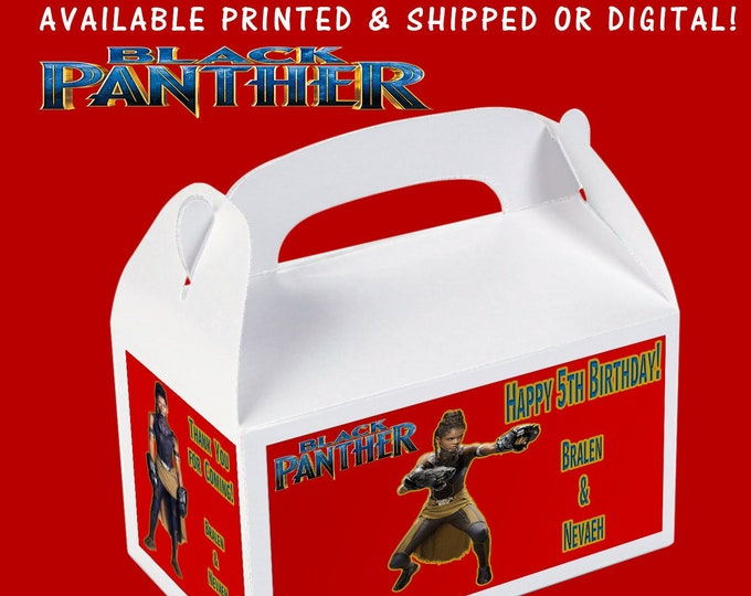 Black Panther Gable Box, Black Panther Birthday, Black Panther Party, Custom Party Favors, Custom Gable Box, Printed, Printable, Digital