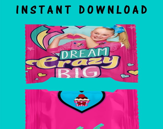 JoJo Rice Krispy Treat Wrapper - INSTANT DIGITAL DOWNLOAD - File Cannot Be Customized - File Not Editable -  JoJo Party - Party Printables