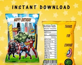 Avengers Chip Bag - INSTANT DIGITAL DOWNLOAD - File Cannot Be Customized - File Not Editable - Avengers Party Favors - Favor Bag - Digital
