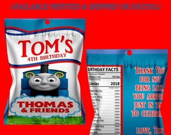 Thomas the Train Fruit Snack Favors - Fruit Snack Favor Bags - Thomas the Train - Favor Bags - Digital - Printed - Party Printable