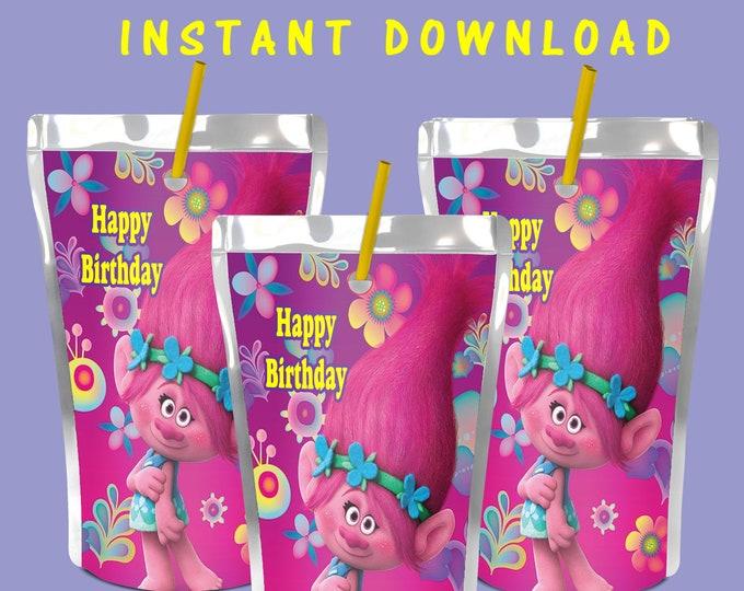 Trolls Capri Sun Label - INSTANT DIGITAL DOWNLOAD - File Cannot Be Customized - File Not Editable - Trolls - Juice Pouch Label - Digital