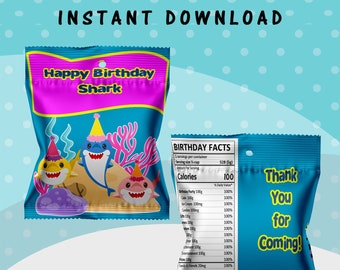 Shark Fruit Snack Bag - INSTANT DIGITAL DOWNLOAD - File Cannot Be Customized - File Not Editable - Baby Shark Party Favors - Digital