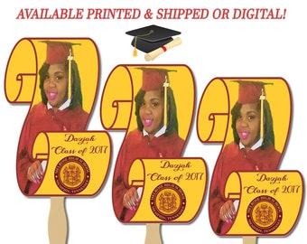Graduation Scroll Fans - Double Sided Fans - Graduation Fan - Banner - Announcement - Graduation Party - Decoration - Party Printables
